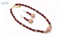Maroon necklace set - 6868