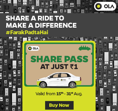 Share pass at flat Re 1 @ Ola Cabs